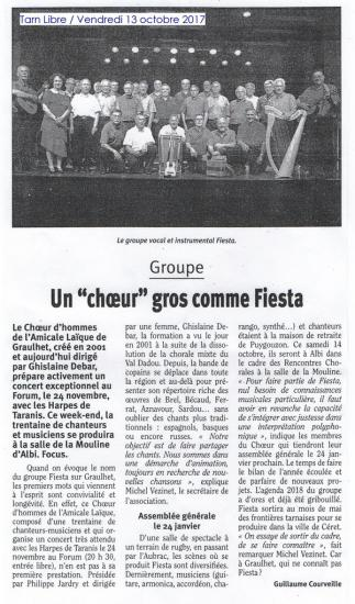 Article FIESTA Tarn Libre 13 Octobre 2017