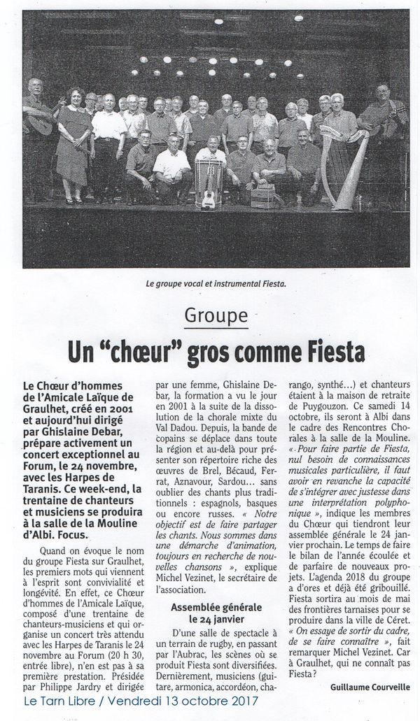 Article fiesta tarn libre 13 octobre 2017